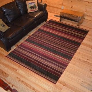 Rustic Lodge Striped Cabin Multi Area Rug (7'10 x 9'10)