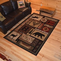 Rustic Lodge Bear Moose Deer Cabin Multi Black Area Rug - 7'10 x 9'10