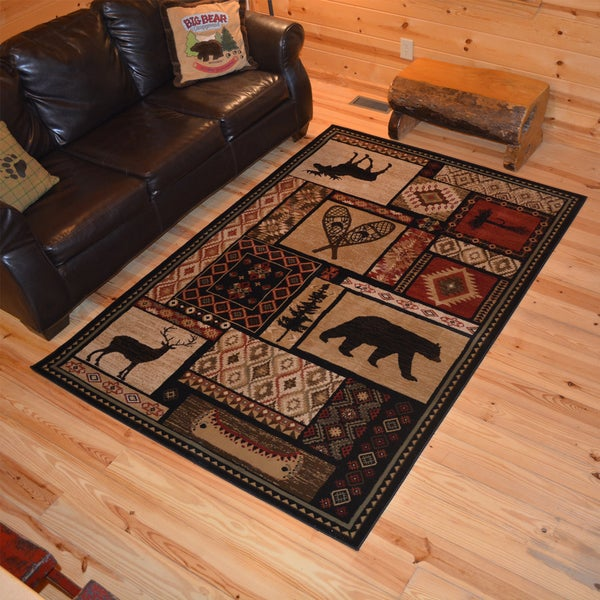 Rustic Lodge Bear Moose Deer Cabin Multi Black Area Rug