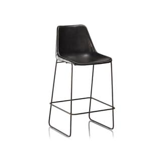 Hudson Black Leather Bar Stool