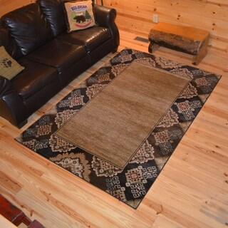 Rustic Lodge Open Center Southwest Cabin Multi Black Area Rug (7'10 x 9'10)