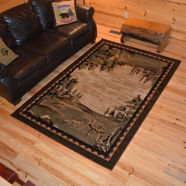 "Rustic Lodge Deer Field Cabin Multi Brown Area Rug - 7'10"" x 9'10"""