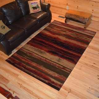 Rustic Lodge Layered Earth Cabin Multi Black Area Rug (5'3 x 7'3)