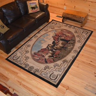 Rustic Lodge Horse Mountains Cabin Multi Area Rug (5'3 x 7'3)