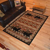 Rustic Lodge Horse Equestrian Cabin Multi Area Rug - 5'3 x 7'7