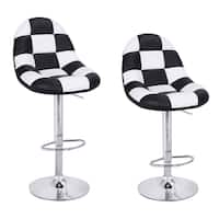 Adeco Black and White Pattern Cushioned Leatherette Adjustable Barstool Chair with Chrome Finish Pedestal Base (Set of 2)