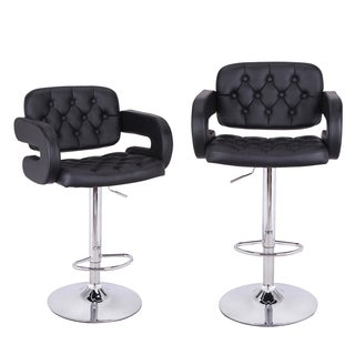 Adeco Arm-Rest Leatherette Adjustable Low Cut Out Back Barstool Chair