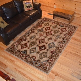 Rustic Lodge Southwestern Desert Sand Cabin Ivory Area Rug (5'3 x 7'3)