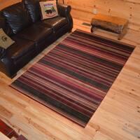 Rustic Lodge Striped Cabin Multi Area Rug - 5'3 x 7'7