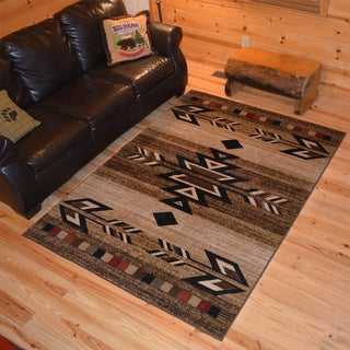 "Rustic Lodge Southwestern Desert Cabin Ivory Area Rug (7'10 x 9'10) - 7'10"" x 9'10"""