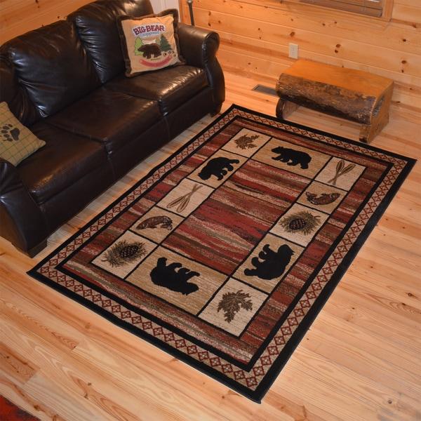 Rustic Lodge Bear Border Cabin Red Black Area Rug Multi