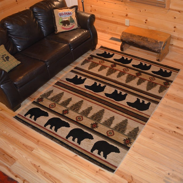 Shop Rustic Lodge Bear Cabin Ivory Area Rug 2 X 3
