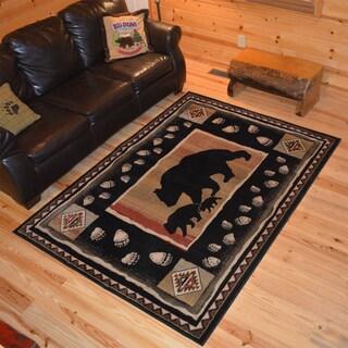 Rustic Lodge Bear Take the Lead Cabin Black Area Rug (2'2 x 3'3)