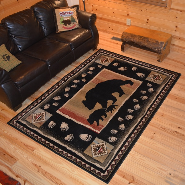 Shop Rustic Lodge Bear Take The Lead Cabin Black Area Rug