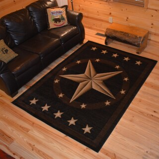 Rustic Lodge Western Texas Star Cabin Black Multi Area Rug - 2' x 3'