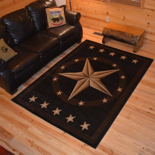 Captivating Rustic Lodge Western Texas Star Cabin Black Multi Area Rug (2u0026#x27;2