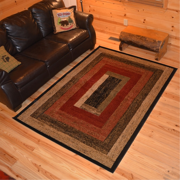 Shop Rustic Lodge Panel Stripes Cabin Multi Area Rug 2