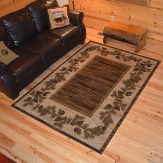 Rustic Lodge Pine Cone Border Cabin Brown Area Rug (5'3 x 7'3)