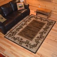 Rustic Lodge Pine Cone Border Cabin Brown Area Rug - 5'3 x 7'3
