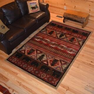 Rustic Lodge Bear Southwest Pine Cabin Multi Area Rug - 7'10 x 9'10