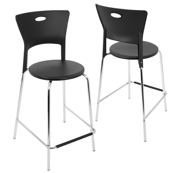 Mimi Contemporary Counter Stool in Black with Chrome Footrest-Set of 2