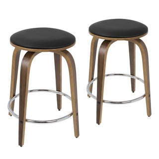 Porto Counter Stools with Swivel and Chrome Footrest-Set of 2