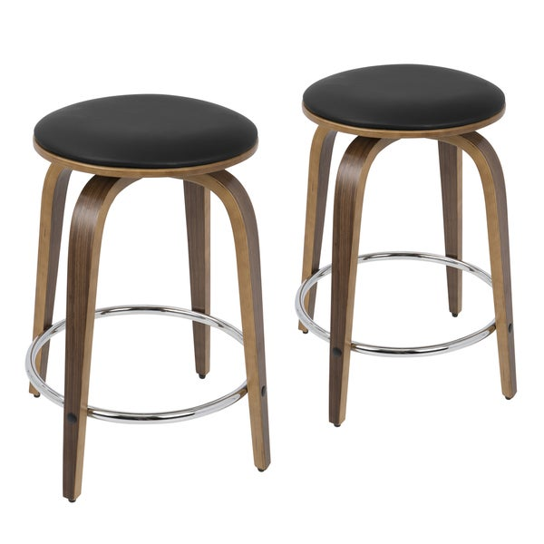 Porto Counter Stools With Swivel And Chrome Footrest Set
