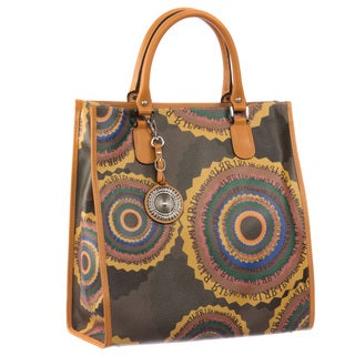 Ripani Time Travel Brown Canvas and Leather Tote Handbag