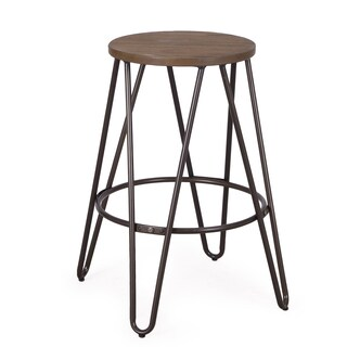 Adeco Minimalism Style Metal Stool With Wood Seat 24 Inches