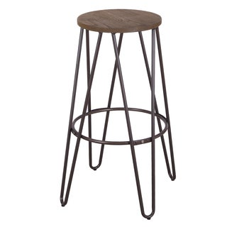 30-inch Metal Vintage Antique Style Gunmetal Counter Bar Stool with Modern Handmade Wood Top Seat