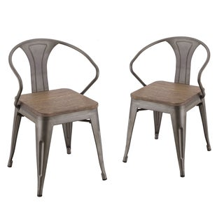 Adeco Metal Industrial Dining Bistro Cafe Side Chairs, Set of Two