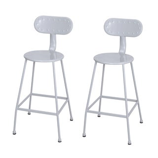 Adeco 26 inches Metal Industrial Dining Bistro Cafe Side Chairs, Set of Two