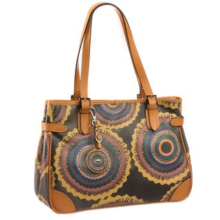 Ripani Time Signature Brown Leather/Canvas Tote Handbag