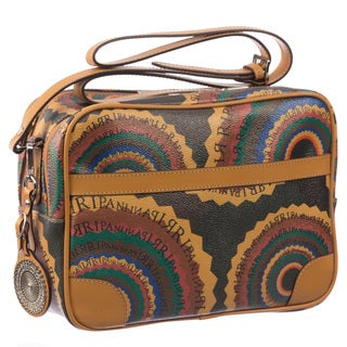 Ripani Time Multicolored Leather/Canvas Crossbody Messenger Bag