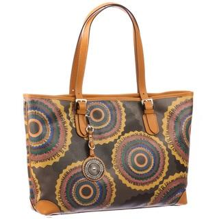 Ripani Time Multicolored Leather and Canvas Signature Shoulder Bag
