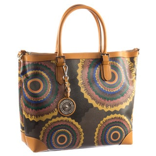 Ripani Time Signature Brown Leather/Canvas Travel Tote