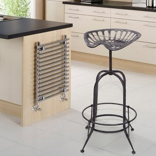 Adeco Antique Metal Stool with Tractor-inspired Seat