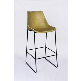 Hudson Olive Leather Old English Bar Stool