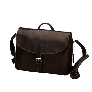Goodhope Brown Leather Flapover Buckle Messenger Bag