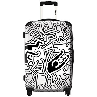 iKase 'Keith Haring Doubles Black and White' 20-inch Fashion Carry-on Hardside Spinner Suitcase