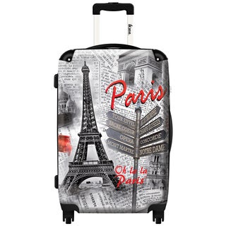 iKase 'Eiffel Tower On Newspaper' 20-inch Fashion Carry-on Hardside Spinner Suitcase