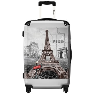 iKase 'Eiffel Tower On Metro Map' 20-inch Fashion Carry-on Hardside Spinner Suitcase