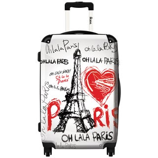 iKase 'Eiffel Tower Love Paris' 20-inch Fashion Carry-on Hardside Spinner Suitcase