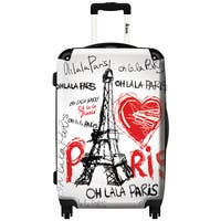 iKase 'Eiffel Tower Love Paris'  Carry-on 20-inch Hardside Spinner Suitcase
