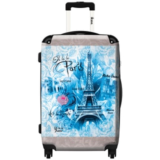 iKase 'Paris Monuments Blue' 20-inch Fashion Carry-on Hardside Spinner Suitcase