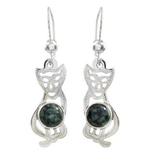 Handcrafted Sterling Silver 'Mystic Green Cats' Jade Earrings (Guatemala)