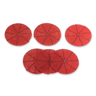 Set of 6 Handcrafted Beaded 'Shimmering Scarlet' Coasters (Indonesia)