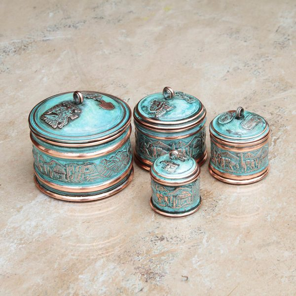 Set of 4 Handmade Copper 'Andean Trail' Stackable Decorative Boxes (Peru)