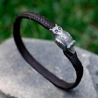 Handcrafted Men's Sterling Silver Leather 'Intuitive Owl' Bracelet (Mexico)