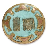 Handmade Copper Bronze 'Wiracocha and Raimondi Stela' Decorative Plate (Peru)